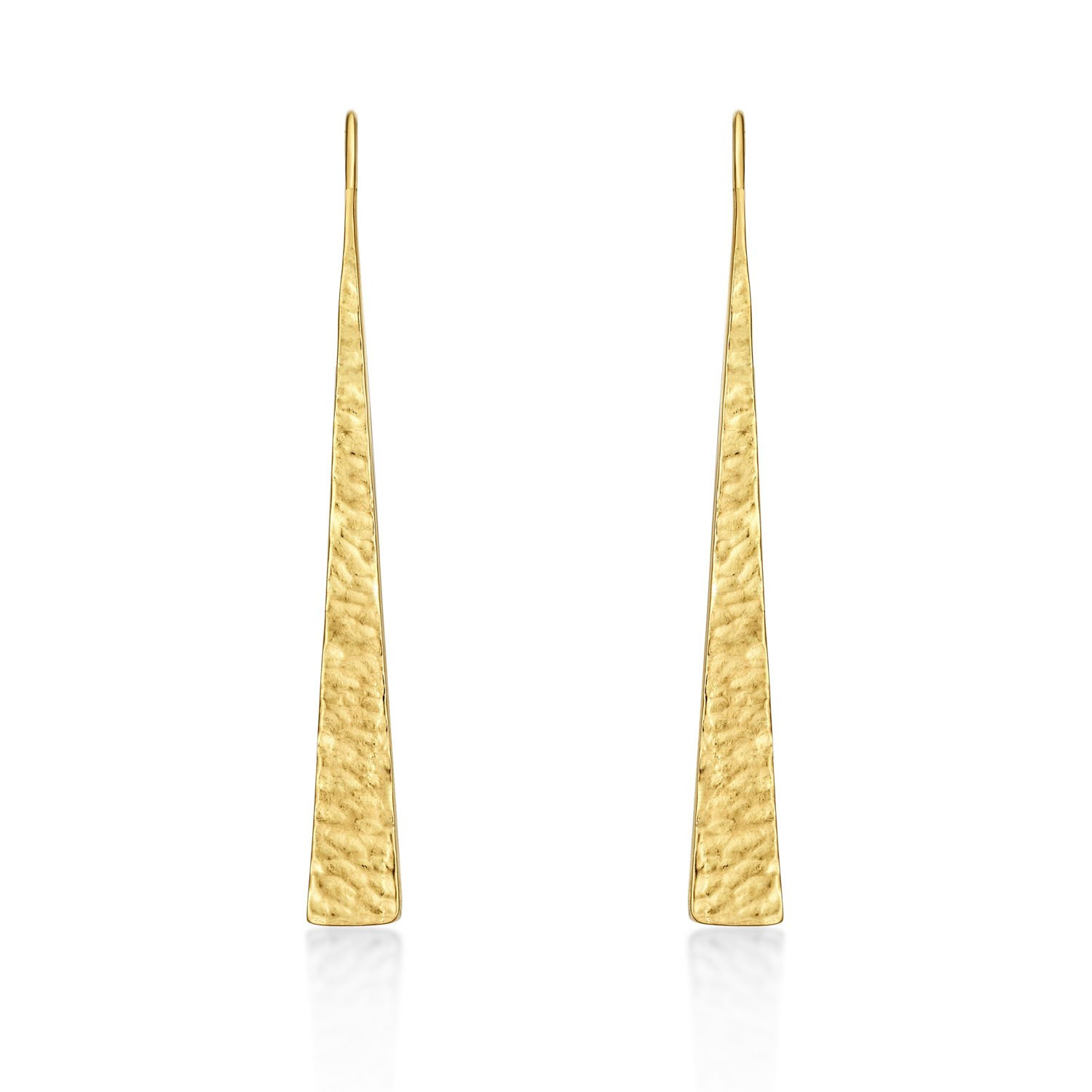 52bf6f853 Yellow Gold Modern Sterling Silver Drop Earrings plated in 18K Yellow Gold.  Hammered Design Contemporary Long Yellow Gold Earrings with Fishhook Backs.