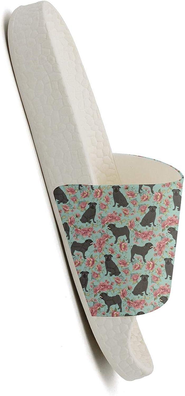 Flower and Pug Dog Blue Womens Slides Shipper Indoor Water-Resistant Slip on