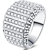 Size 4-12 Stainless Steel Wedding Engagement Ring Enternity Cluster Cocktail Anniversary Valentine (4)