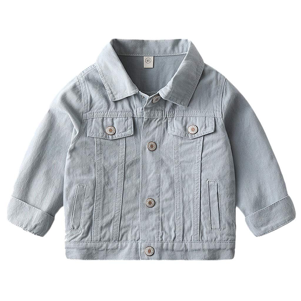 Baby Jungen Jeansjacke Kinder Weste Denim Jacke Mantel Fr/ühlings Weiche Langarm M/ädchen Jeansbekleidung Blau 1-2 Jahre