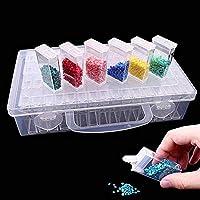 Pawaca 64logements Diamant Broderie Box, Foret de Bijoux Boîtes de Rangement en Plastique Transparent Diamant Accessoires de Peinture Boîtes pour DIY Craft