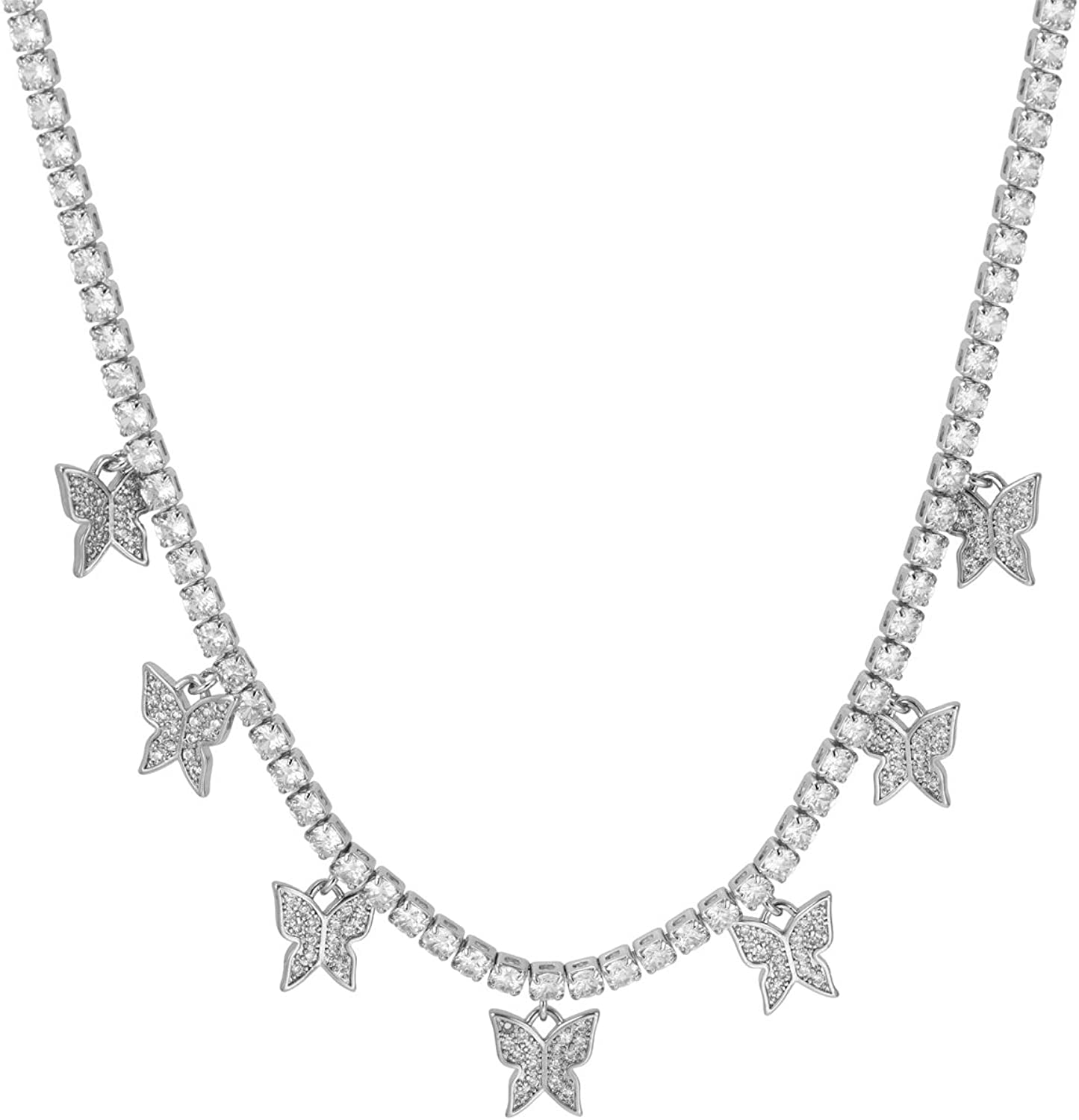 Butterfly Necklace Crystal Chain Butterfly Choker Bling Iced CZ Butterfly Necklace Silver Women