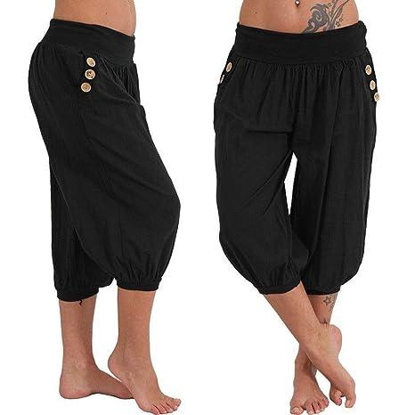 63fa81a2670b4 Pantalon Femmes, Toamen Pantalon à carreaux Boho Taille elastique Baggy  Large Jambe Yoga décontracté Couleur