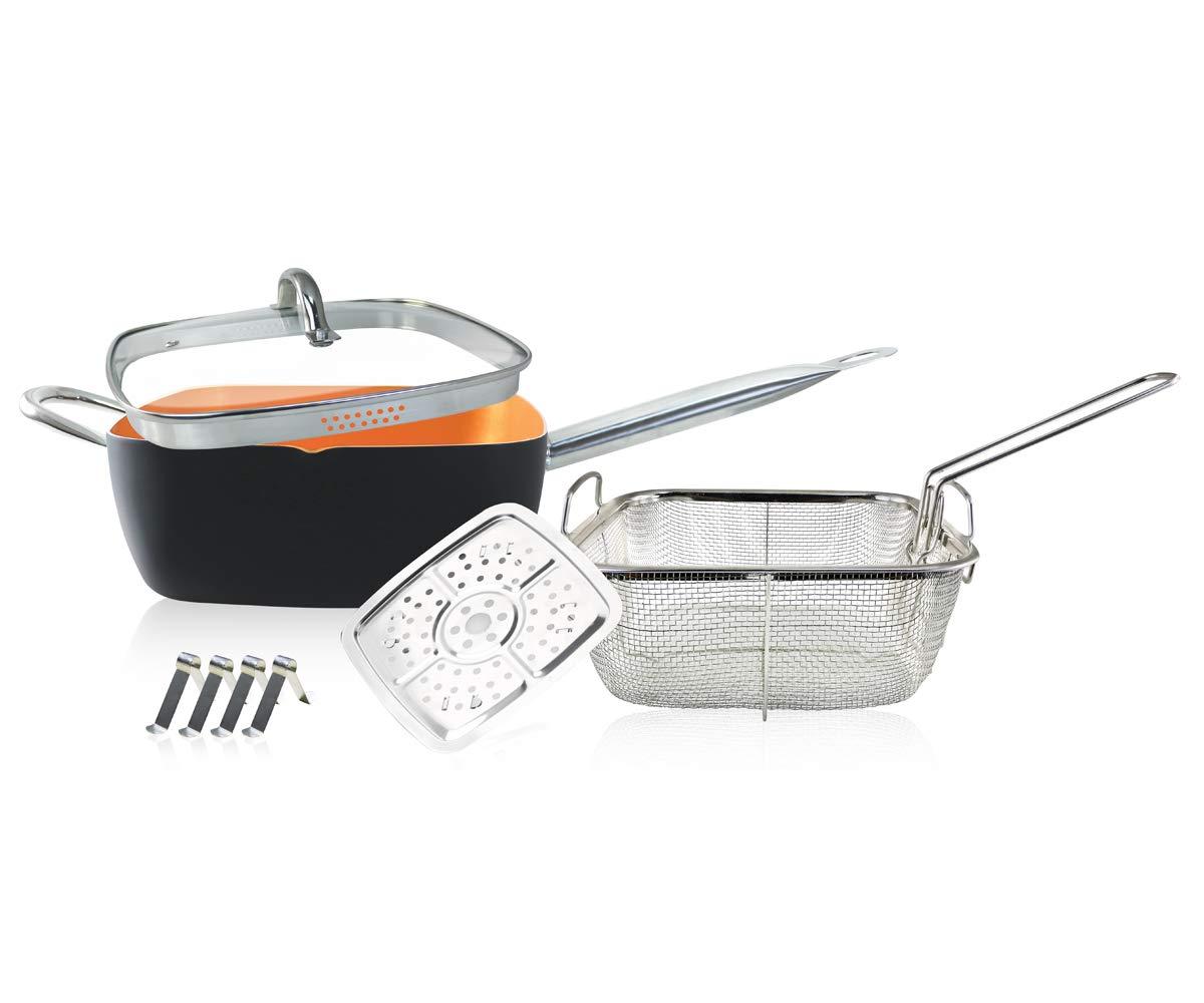 Bandeja cuadrada con lados de cobre profundo, sartén de cobre cuadrada antiadherente de 9.5 pulgadas, juego de utensilios de cocina con base de inducción, ...