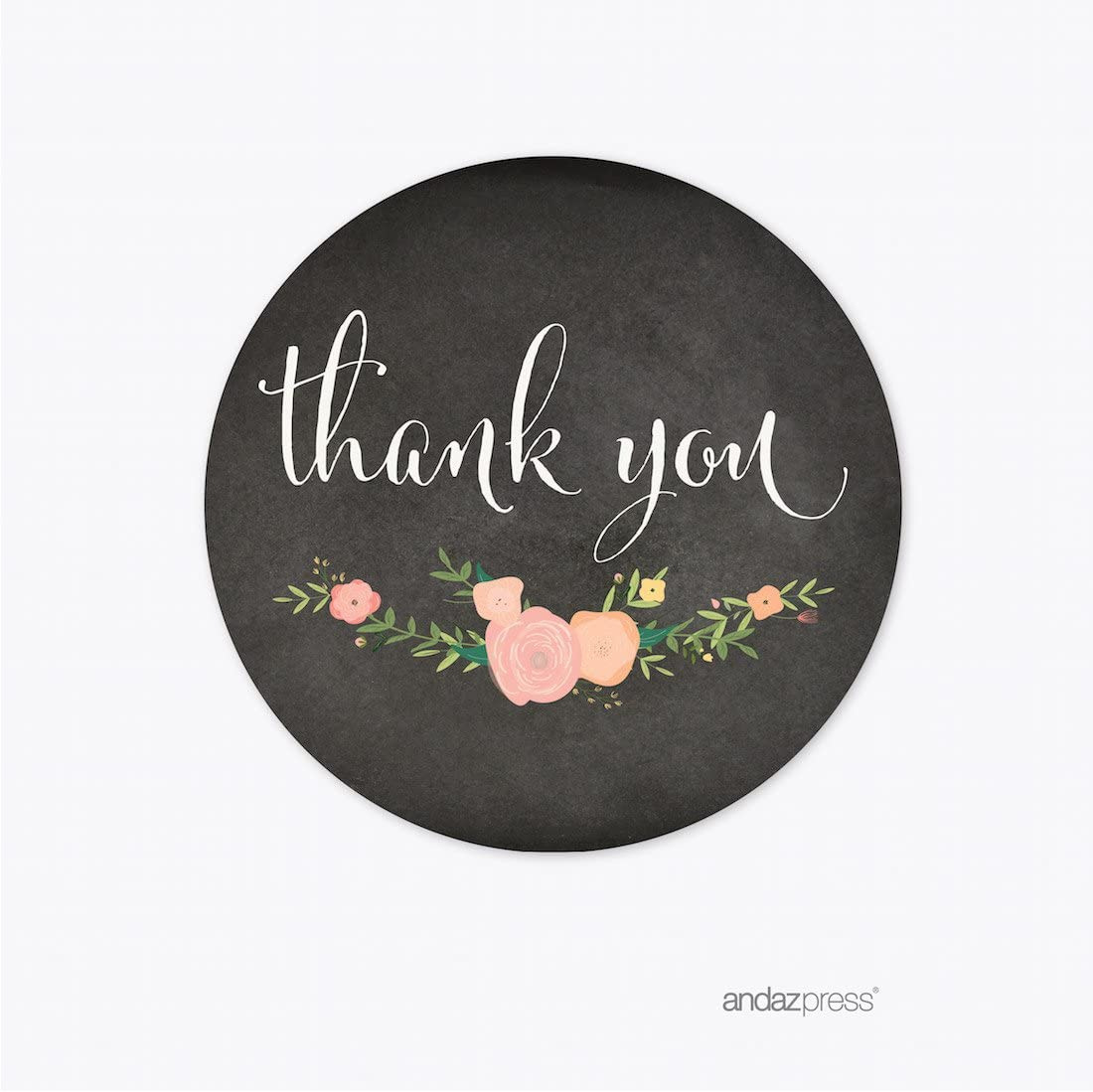 Andaz Press Chalkboard Floral Party Wedding Collection, Round Circle Label Stickers, Thank You, 40-Pack, Baby Bridal Shower Birthday Baptism Anniversary Decor Decorations