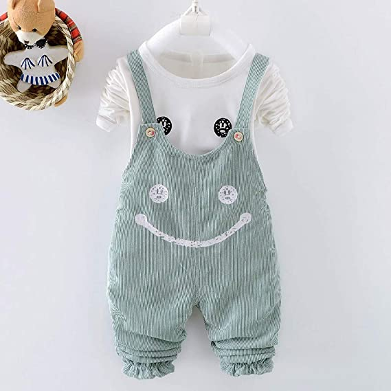 Toddler Kid Baby Girl Cute Cartoon T Shirt Overalls Suspender Pant Outfit Set US