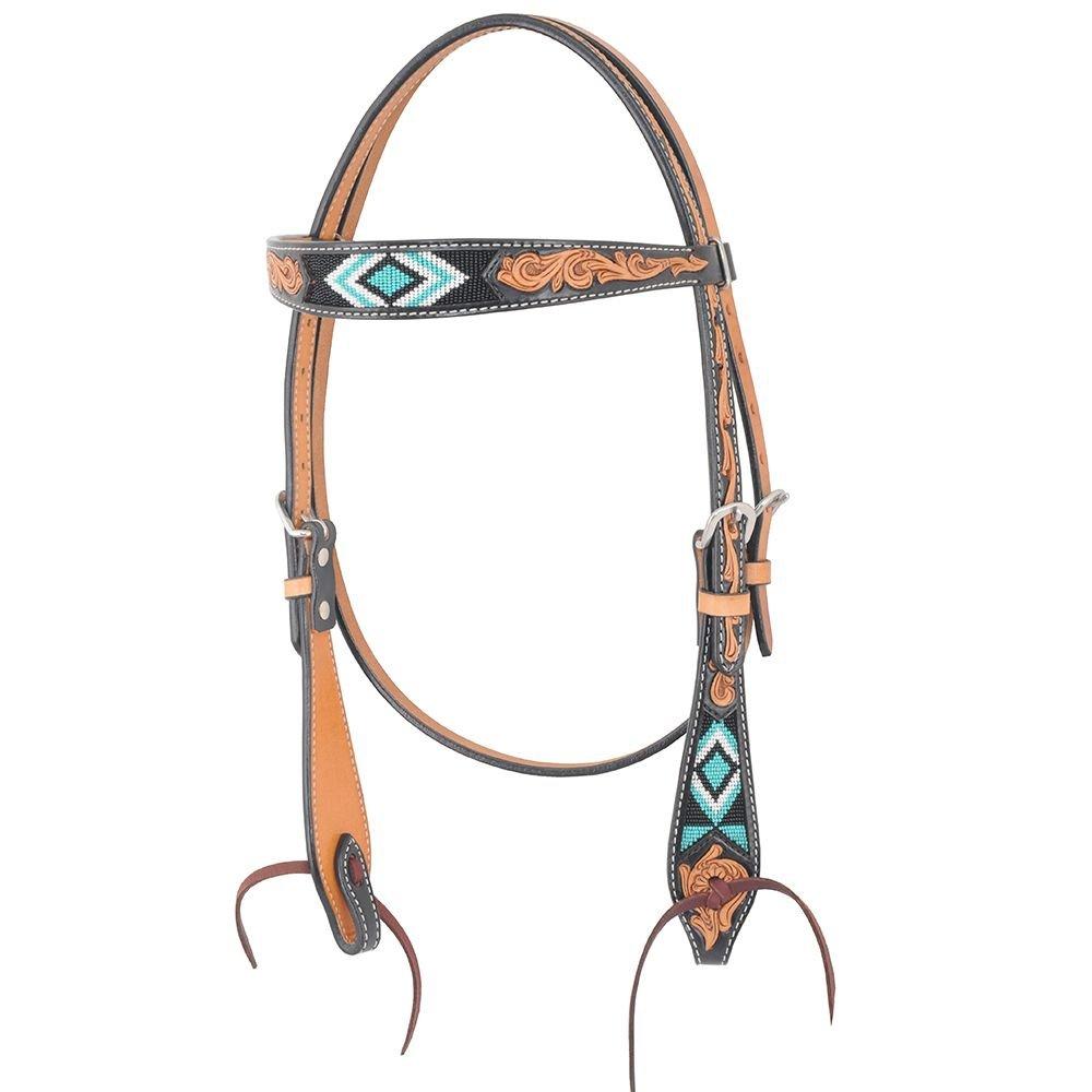 Oxbow Tack Diamond Beaded Browband Headstall Turq/Black   B07BFDDFGT