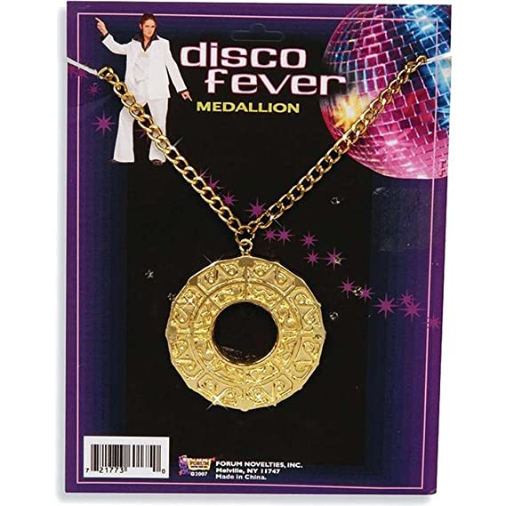Vintage Style Jewelry, Retro Jewelry 70s Disco Fever Medallion $5.75 AT vintagedancer.com