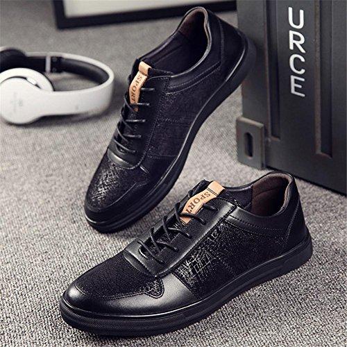 Hombres Casual Entrenadores Zapatos Cuero Encajes Moda Zapatillas Atlético Ligero Negro Al aire libre Black