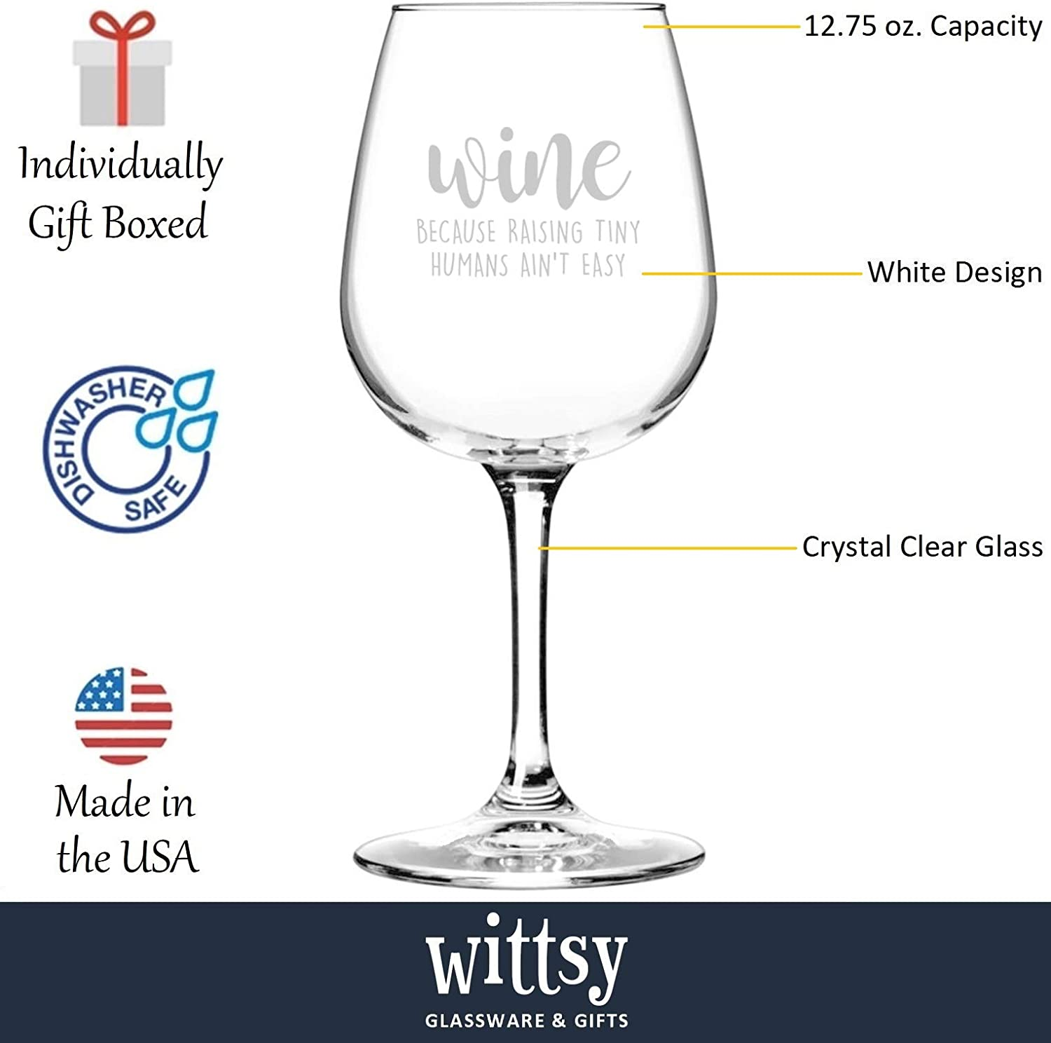 Raising Tiny Humans Funny Wine Glass - Best Christmas Gifts for Mom, Dad, Women, Men - Unique Xmas Gag Gift Idea for Wife from Husband - Fun Novelty ...