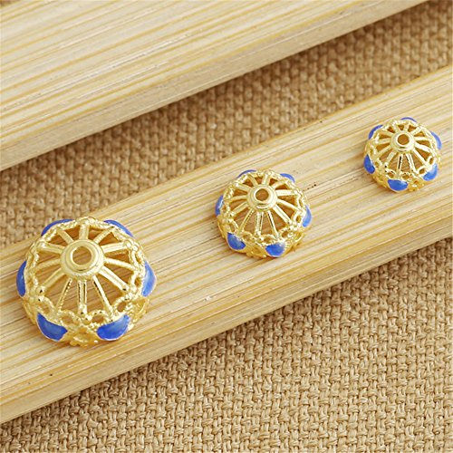 Luoyi Golden Plated Sterling Silver Enamel Bead Caps, Cloisonne Flower Caps (T030L) (14mm)