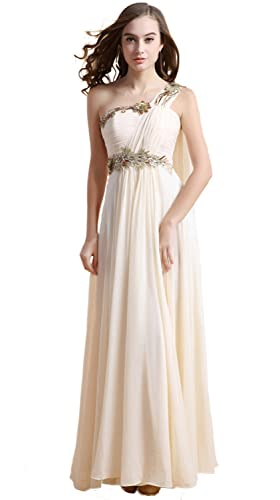 Fanhao Women's Retro Single Shoulder Embroidery Ruched Bridal Party Long Prom dress