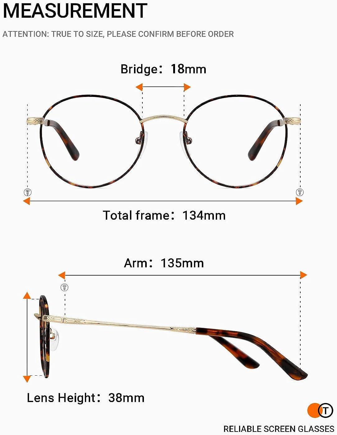 TIJN Unisex Vintage Round Eyeglasses with Blue Light Filter Lenses Lightweight Metal Frame Computer Glasses
