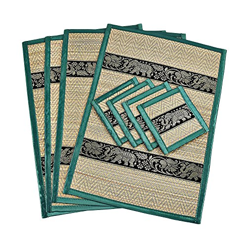 Set of 4 Mighty Elephant Green Silk Trim Reed Placemats and Coasters