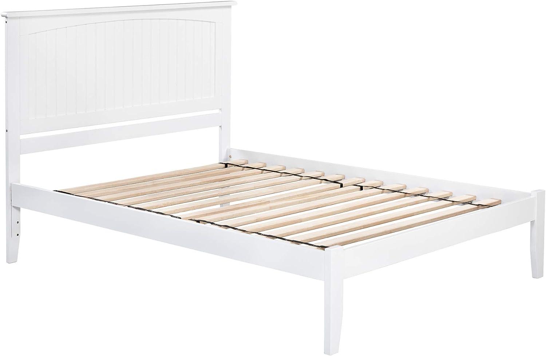 Atlantic Furniture Nantucket Platform Bed with Open Foot Board, Queen, White
