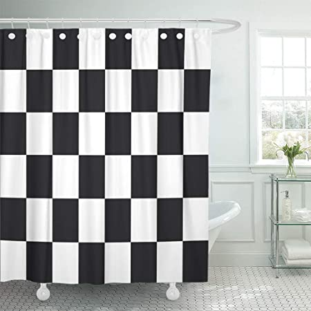Emvency Shower Curtains 84 X 72 Inches Abstract Black And Board Champion Championship Check Checker Checkerboard