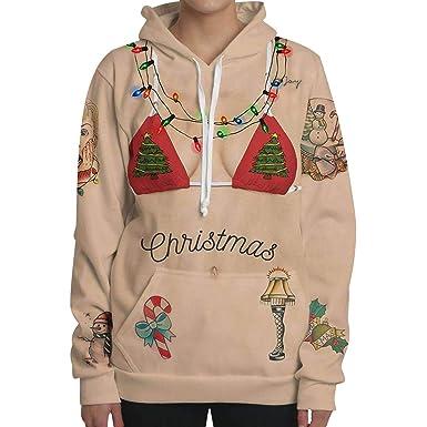 Sudaderas de Navidad con Capucha Mujer Jersey Navideño Sueter Sweaters Sudadera Estampadas Hoodies Personalizadas Sweaters Jerseys Navideños Oversize ...