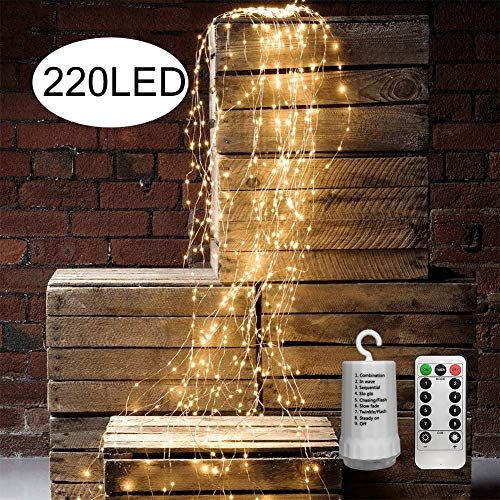 Outdoor String Lights Battery Operated 11 Strands 220 LEDs Remote Control Branch Lights Waterproof Twinkle Starry Fairy Lights Vine String Lights for Garden Patio Christmas Tree Decoration Warm White