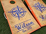 Nautical Compass Custom Cornhole Board Set