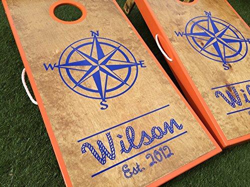 Nautical Compass Custom Cornhole Board Set by West Georgia Cornhole