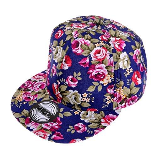 ZLYC Women Fashion Floral Print Adjustable Casual Snapback Baseball Cap Hat (Navy)
