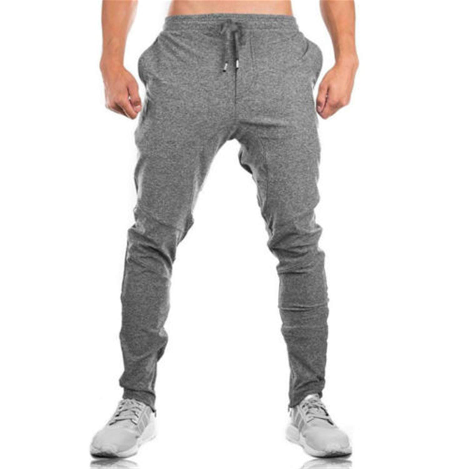 Eslove Fashion Summer Men Pants Long Trousers Tracksuit Fitness Elastic Waist