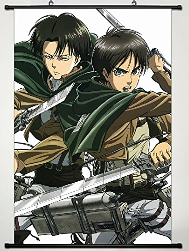 Attack on Titan Home Decor Shingeki no Kyojin Cosplay Wall Scroll Poster Eren Jäger & Levi/Rivaille/Rival 23.6 X 35.4 Inches-JX09 -
