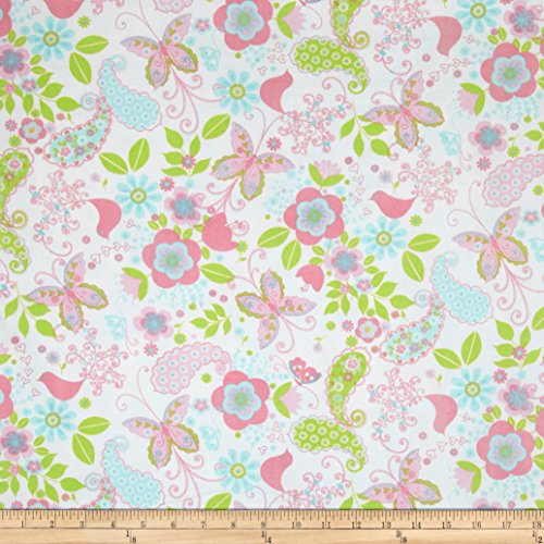 A.E. Nathan Comfy Flannel Paisley Floral & Birds White Fabric By The Yard Nathan Comfy Flannel