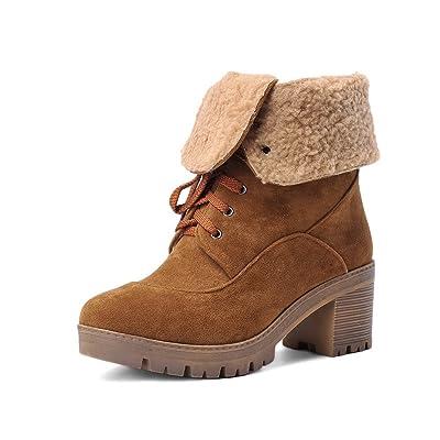 AdeeSu Womens Bandage Chunky Heels Platform Frosted Boots