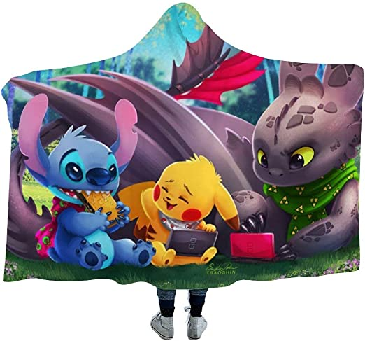 MEW Anime Hooded Blanket for Poke-mon Fans,Pikachu Pichu Eevee Togepi,Arctic Velvet Wearable Super Soft Warm Throw Blanket,for Winter Sofa School Home Travel Picnic Carrying Kids 39x51 inch