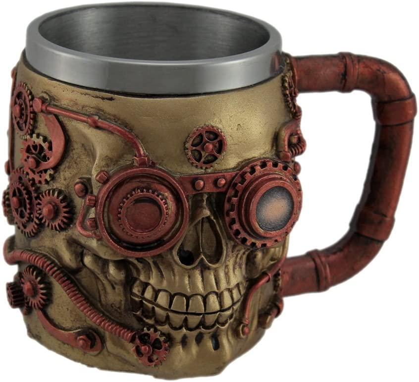 Amazon Com Metallic Copper Finished Steampunk Skull Decorative Mug Beer Mugs Steins