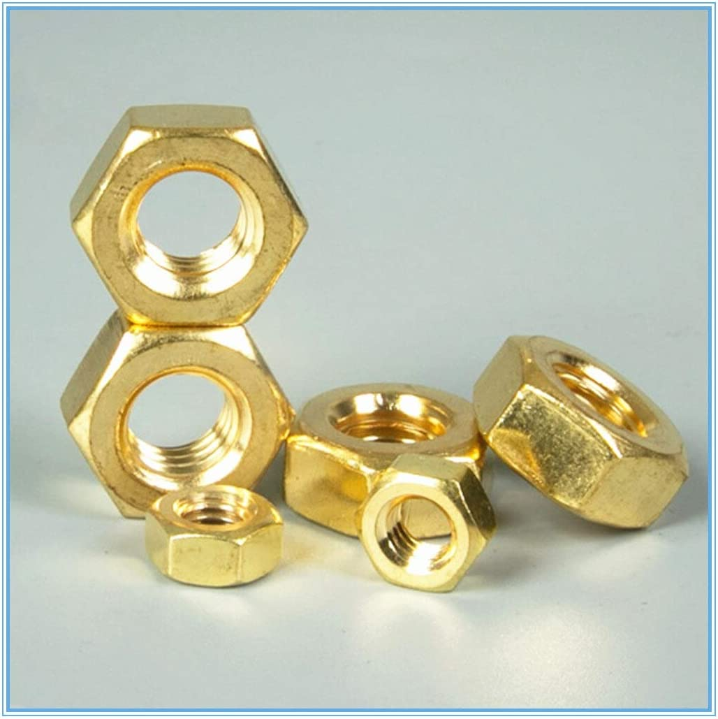 Nuts 10pcs M10 Copper Hexagonal Brass Hex Nuts Hexagon Nuts Size: M10
