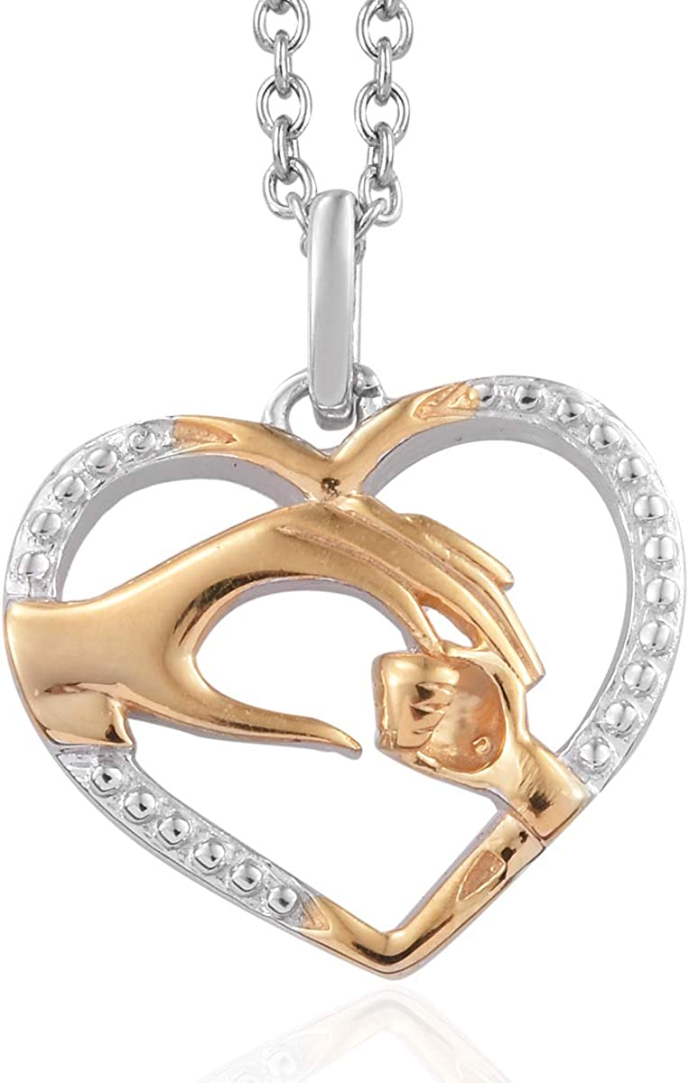Shop LC Delivering Joy 14K Yellow Gold and Platinum Over 925 Sterling Silver Pendant with Stainless Steel Magnetic Clasp Chain 20