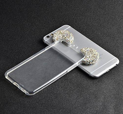 Vandot iPhone 5 5s SE | Funda Carcasa con Orejas de Raton | TPU en Transparente + muticolor | 3D Cute Cartoon Diamante Crystal Mouse Ears Case Cover Protector Smartphone Móvil Accesorio - Negro MQEar 02