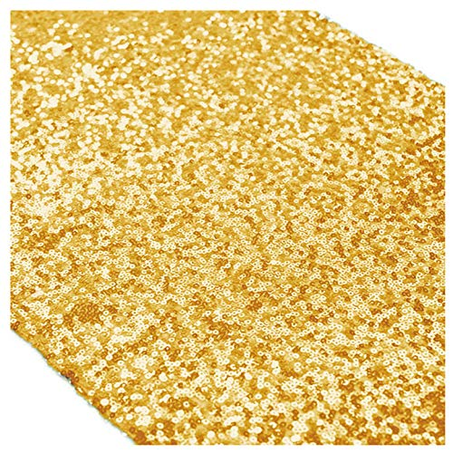 ShinyBeauty Gold Sequin Table Runner 12x108-Inch Wedding Shower Decorations Gold Party Supplies-Pack of 5