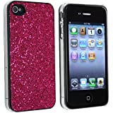 eForCity® Hot Pink Bling Glitter Hard Case Cover Compatible with iPhone® 4 4G