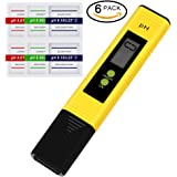 Flammae PH Meter, Meter Water Quality Tester for Household Drinking Water in 0.01 Resolution, Pocket Size PH Tester with ATC 0-14 PH (6 packs PH Buffer Powder)