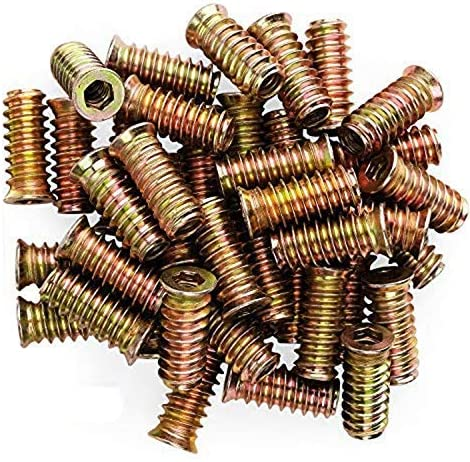 Easy 100Pcs 1//4inch-20 x 15mm Furniture Screw in Nut Threaded Wood Inserts Bolt Fastener Connector Hex Socket Drive Screws