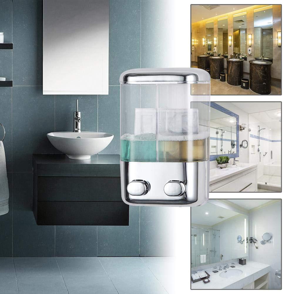 TARTIERY Electroplating Two-Head Soap Dispenser Wall-Mounted Soap Dispenser de emulsi/ón para Cocina y ba/ño Office Sanitizer Shampoo Loci/ón