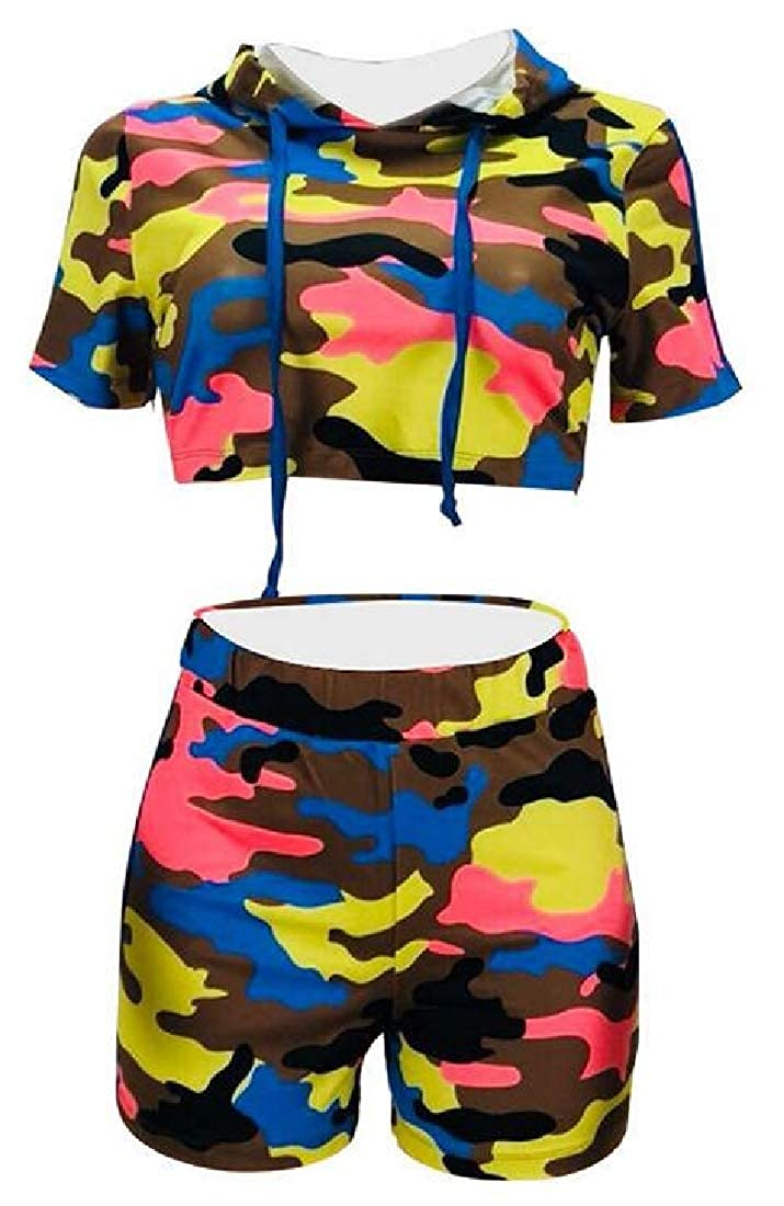 WAWAYA Women Hooded Crop Top and Moto Biker Shorts Gym Workout Short Sleeve Camouflage Print Club Outfits Tracksuits