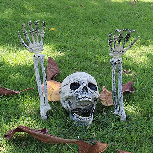Party Diy Decorations - Horrible Open Mouthed Skull 2pcs White Bone Hand Arm Bones Play Prop Graveyard Haunted House Prank - Head Male Plastic Skeleton Cemetery Cap Fake Decor Cosplay Bone -