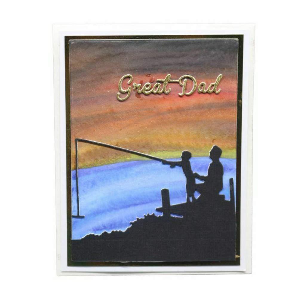 Silver Cutting Dies yanQxIzbiu Father Son Fishing Metal Cutting Dies DIY Scrapbook Paper Cards Album Art Craft