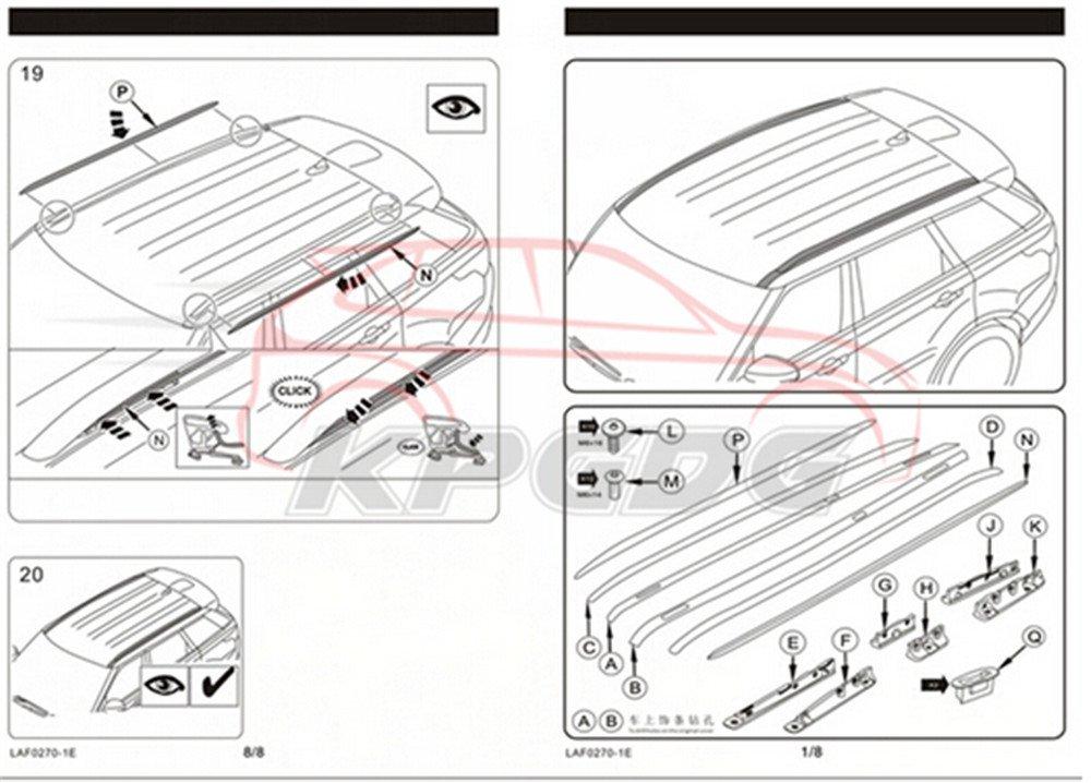 Black KPGDG Fit for Land Rover Range Rover Sport 2014-2019 2 Pcs Aluminium OEM Design Roof Rail Roof Rack Side Rail Bar