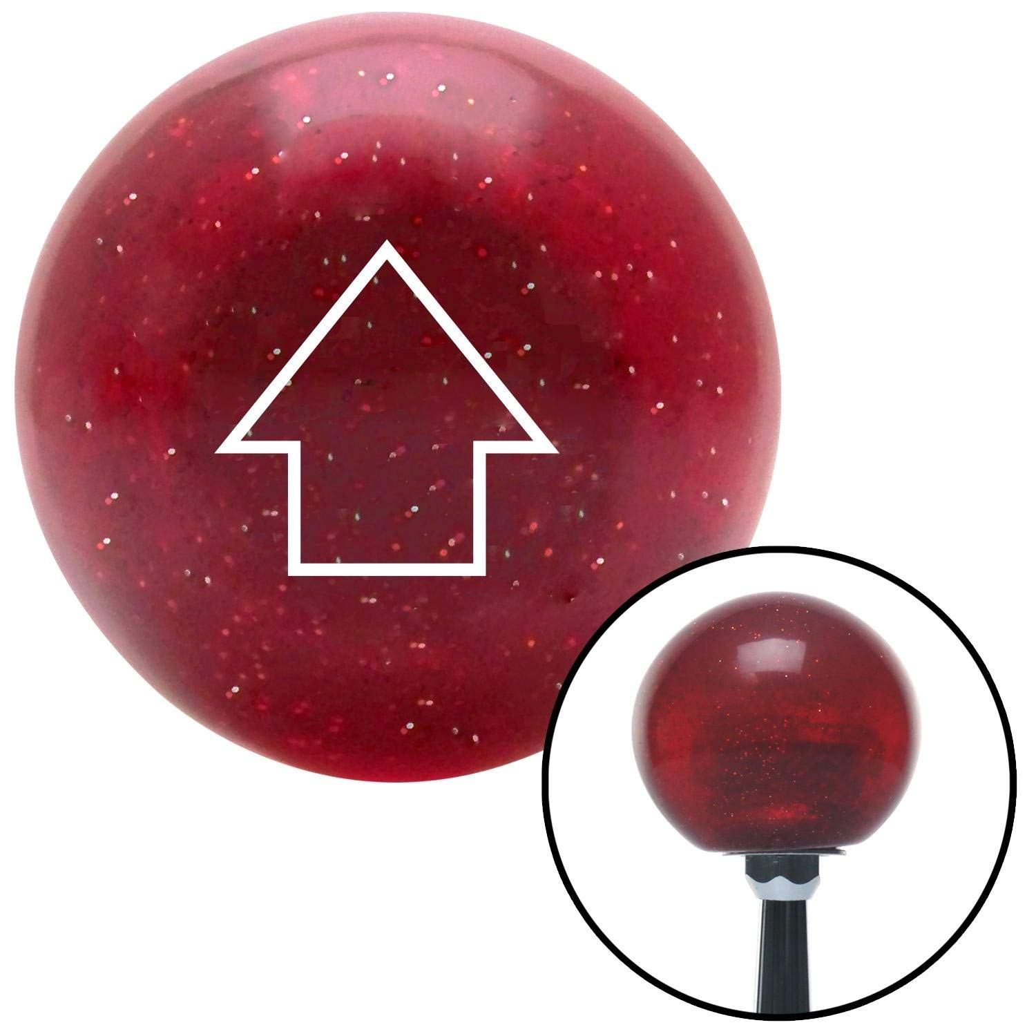 American Shifter 48145 Red Metal Flake Shift Knob with 16mm x 1.5 Insert White Classic Arrow Up