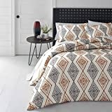 3 Piece Burnt Orange Grey Off White Aztec Southwest theme Duvet Cover Full Queen Set, Beautiful Vertical Diamond Ikat Bedding, Stylish Boho Chic Native American Geometric Themed Pattern, Burgundy Gray