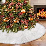 Faux Fur Christmas Tree Skirt 35.4 inches Elegant White Xmas Holiday Tree Skirts for Christmas Decorations