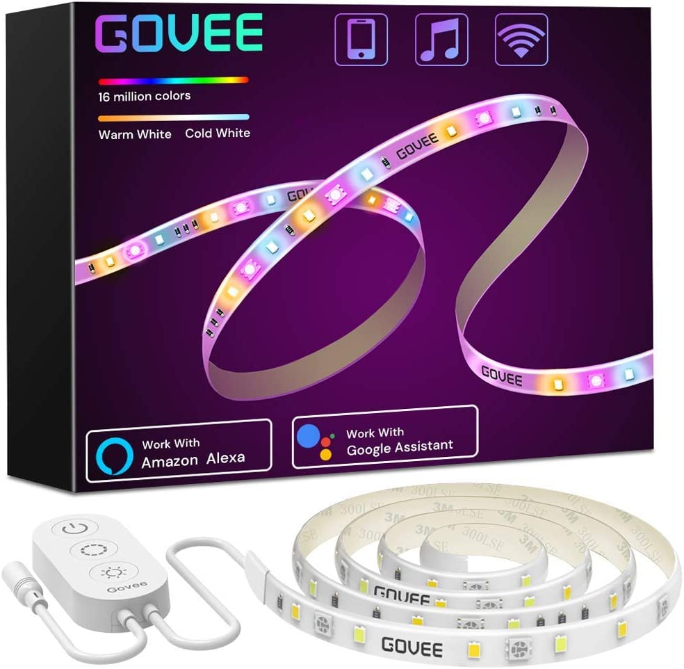Smart LED Strip Lights, Govee RGBWW WiFi Light Strip Works with Alexa Google Home, 16 Million Colors, Warm White and Cool White, Wake-Up Lighting Kit with App Control for Bedroom, Living Room, Kitchen