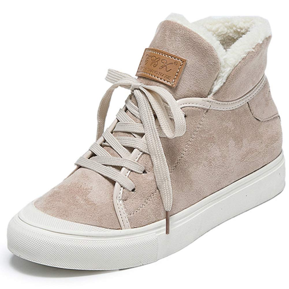 Plus Samt Hohe Schuhe Frauen 2018 Neue Koreanische Version Der Wilden Winter Schuhe Warme Flache Schuhe Laufschuhe Outdoor (Farbe   EIN)