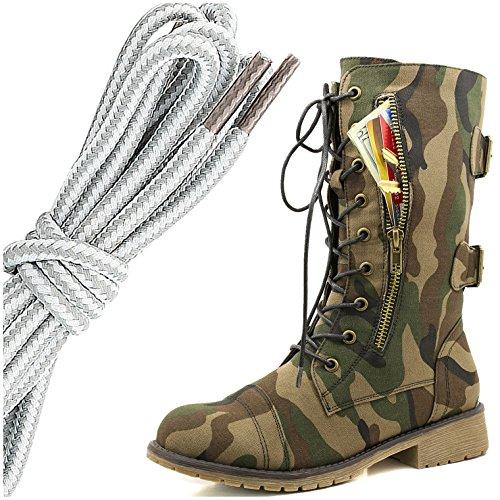 Dailyshoes Femmes Lace Militaire Boucle Boucle Bottes De Combat Mi Genou Haute Carte De Crédit Exclusive Poche, Gris Blanc Armée Classique