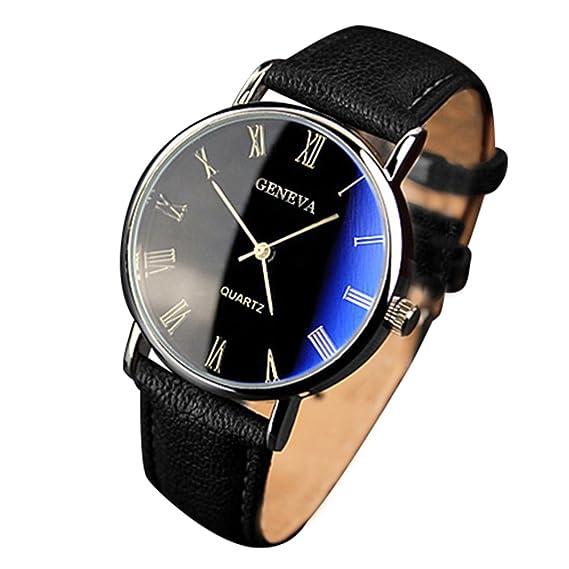 Reloj de pulsera analógico de cuarzo con números romanos, de Yazole Mens, correa de piel sintética marrón y esfera negra: Amazon.es: Relojes